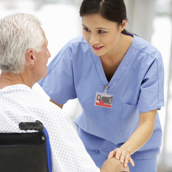 Med-surg nurse with patient