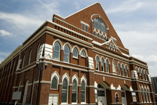 travel nursing locations - 15 places to see before you die - image of ryman auditorium facade in nashville tennessee