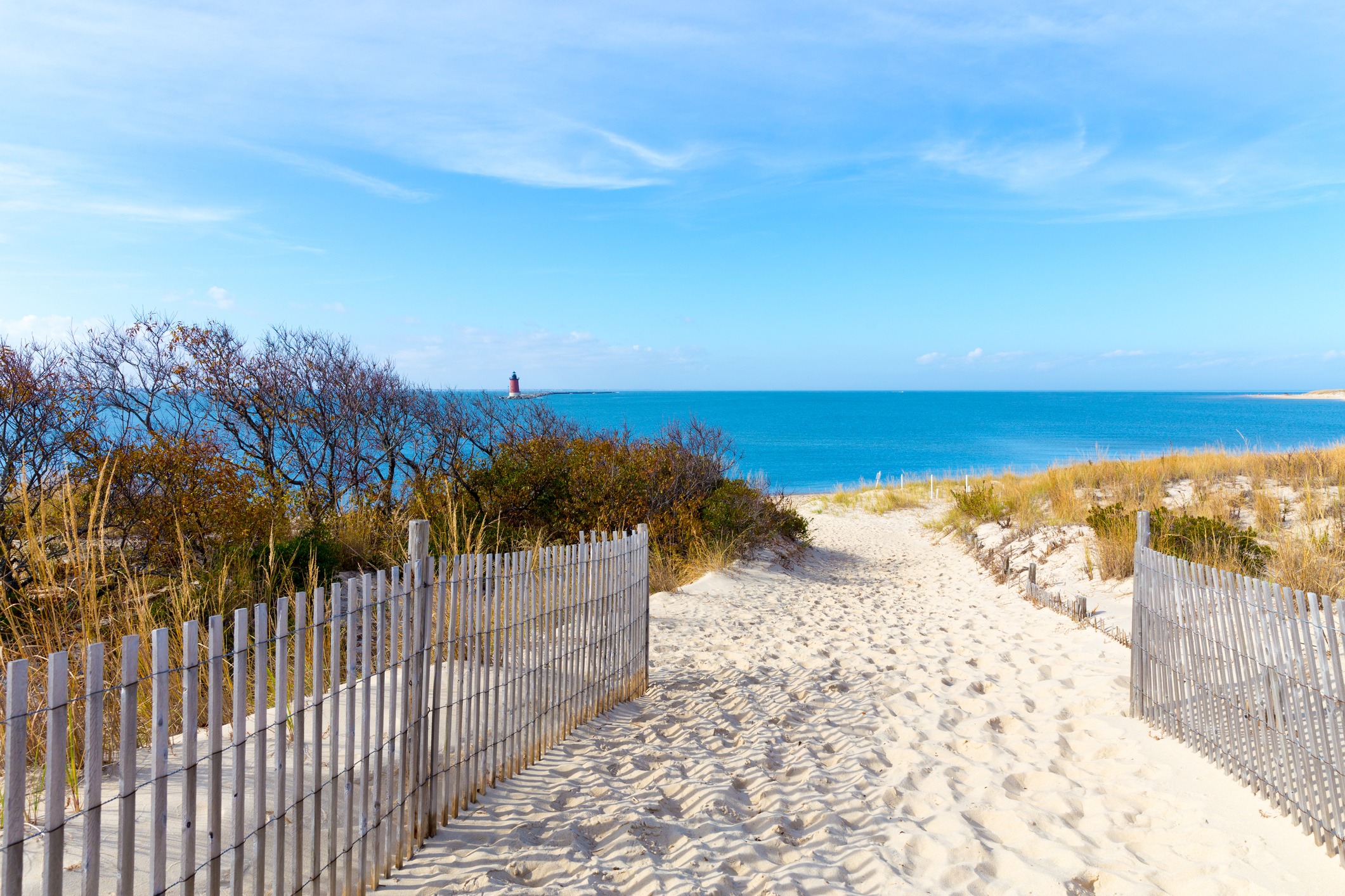 A seascape view at Cape Henlopen, Delaware in Lewes.