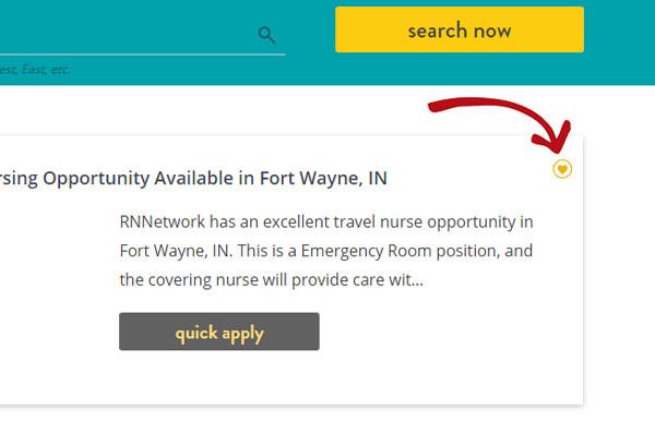 Job search favorite button