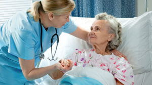 Travel nurse with patient