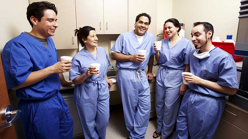 Nurses drinking coffee - one of many things that make nurse life easier