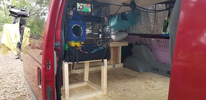 Interior of Becky Faulkner's van