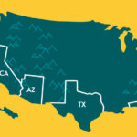 Map showing the top four states where travel nurses are needed the most
